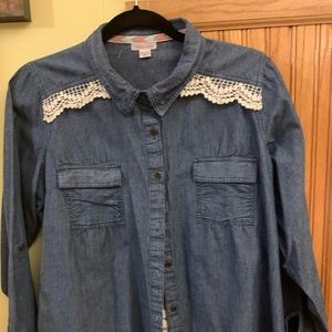 Denim and lace button down
